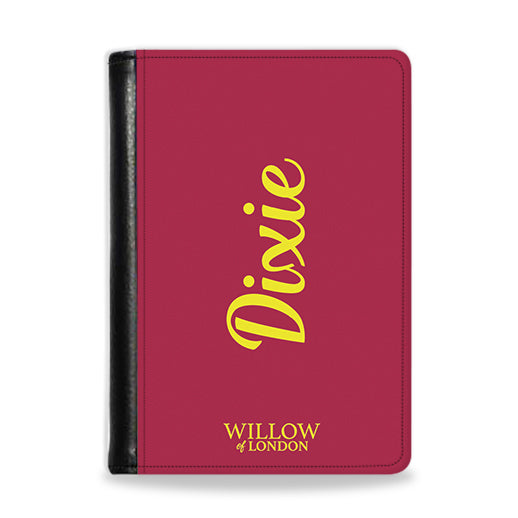 Personalised Passport Wallet Burgundy with Yellow Side Initials