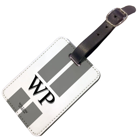 Personalised Luggage Tag White With Grey Stripes and Initials - Double Sided