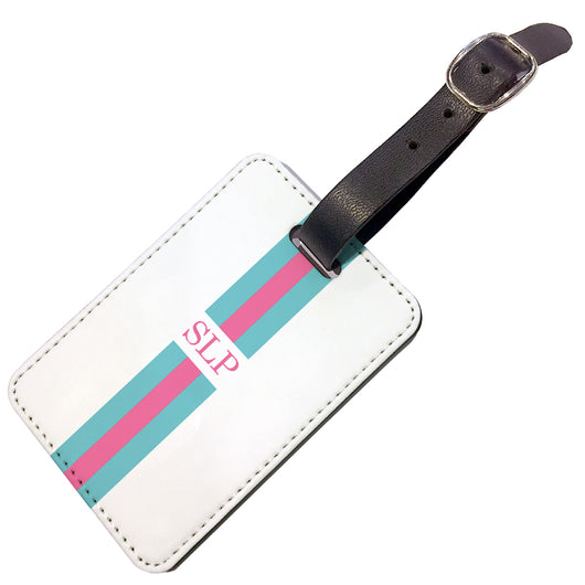 Personalised Luggage Tag Jade with Pink Initials - Double Sided