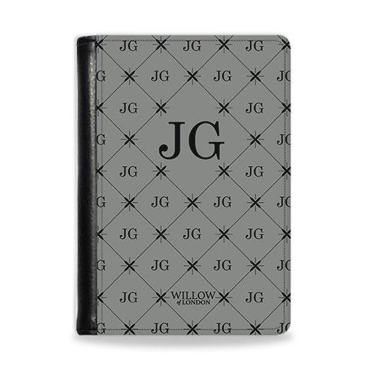 Personalised Passport Wallet Grey With Multi Black Initial Pattern