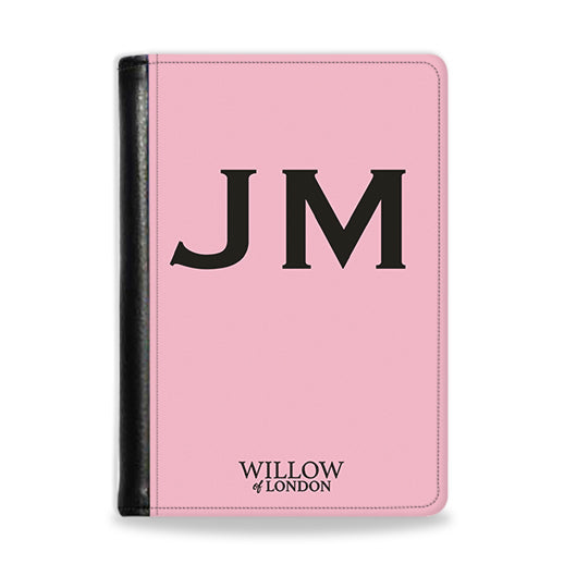 Personalised Passport Wallet Pink With Black Initials