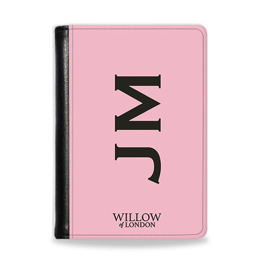 Personalised Passport Wallet Pink With Black Side Initials