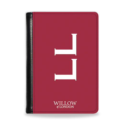 Personalised Passport Wallet Red With White Side Initials