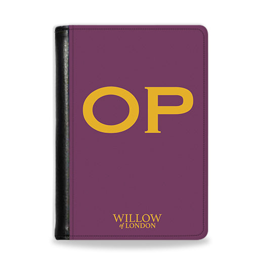 Personalised Passport Wallet Purple With Yellow Initials