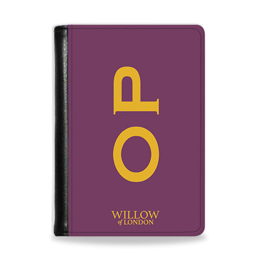 Personalised Passport Wallet Purple With Yellow Side Initials