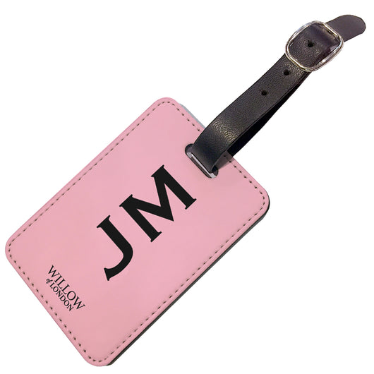 Personalised Luggage Tag Pink With Black Initials - Double Sided