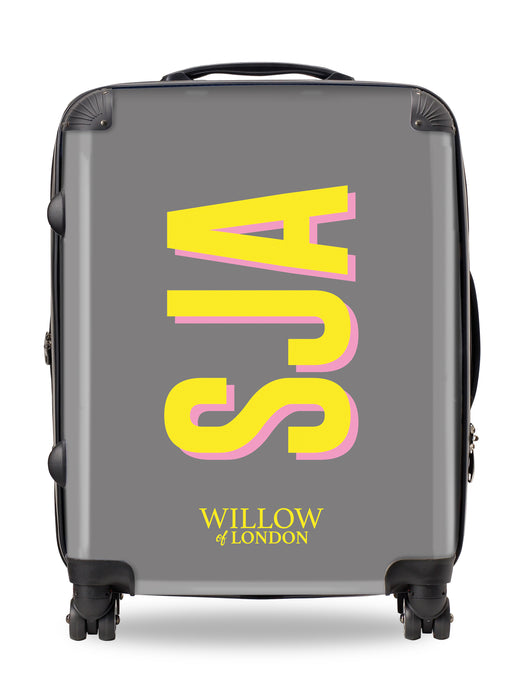 Personalised Suitcase Grey with Yellow Side Initials and Pink Shadow