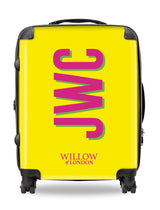 Personalised Suitcase Yellow with Hot Pink Side Initials and Green Shadow