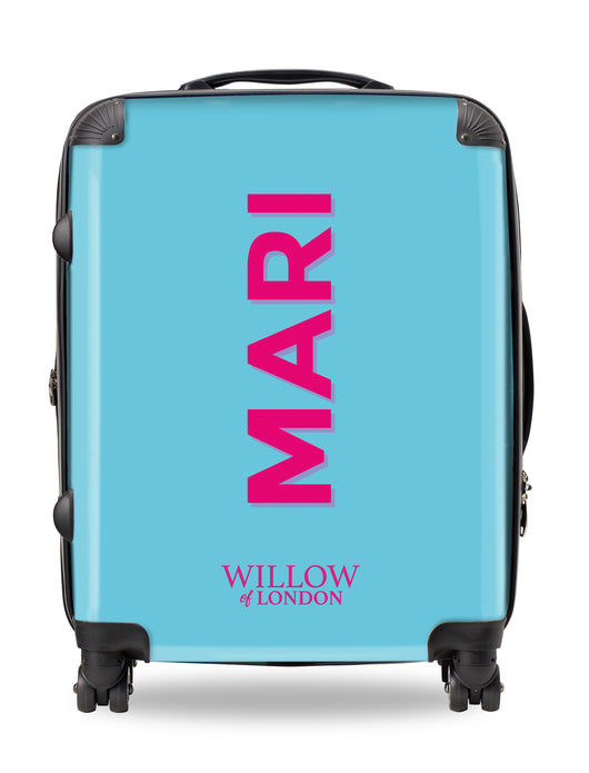 Personalised Suitcase Bright Blue with Hot Pink Side Initials and Shadow