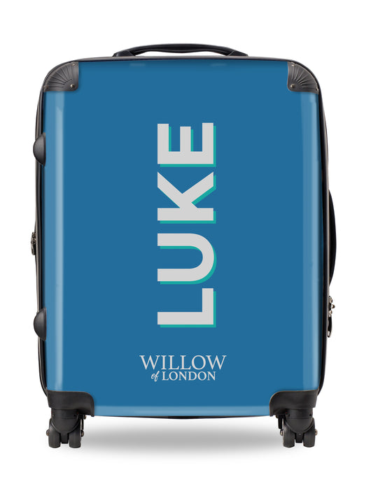 Personalised Suitcase Blue with Silver Grey Side Initials and Green Shadow