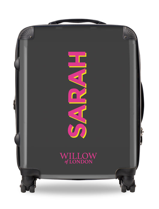 Personalised Suitcase Charcoal with Hot Pink Side Initials and Yellow Shadow