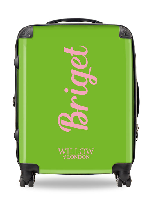 Personalised Suitcase Lime Green with Hot Pink Side Initials and Funky Font