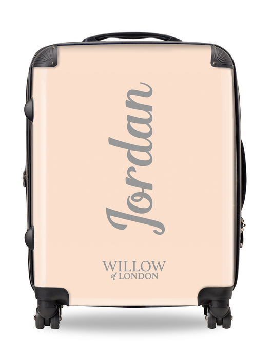 Personalised Suitcase Peach with Grey Side Initials and Funky Font