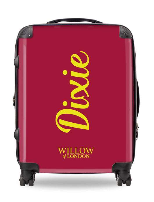 Personalised Suitcase Burgundy with Yellow Side  Initials and Funky Font