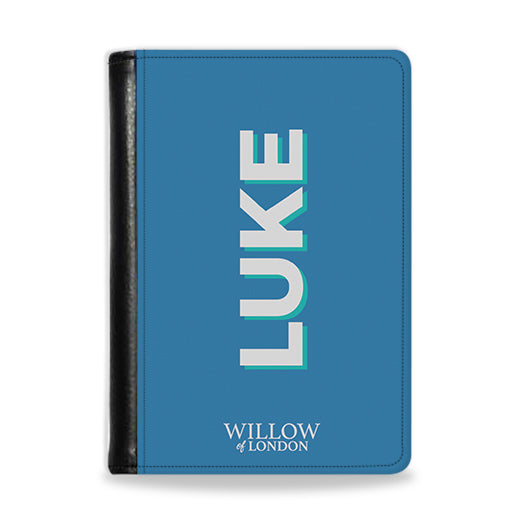 Personalised Passport Wallet Blue With Silver Initials