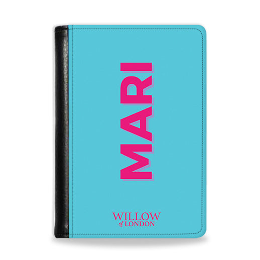 Personalised Passport Wallet Bright Blue With Hot Pink Initials
