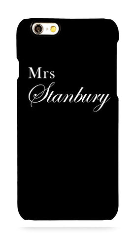 Gloss Black ' Mrs ' with full surname and Copperplate style font