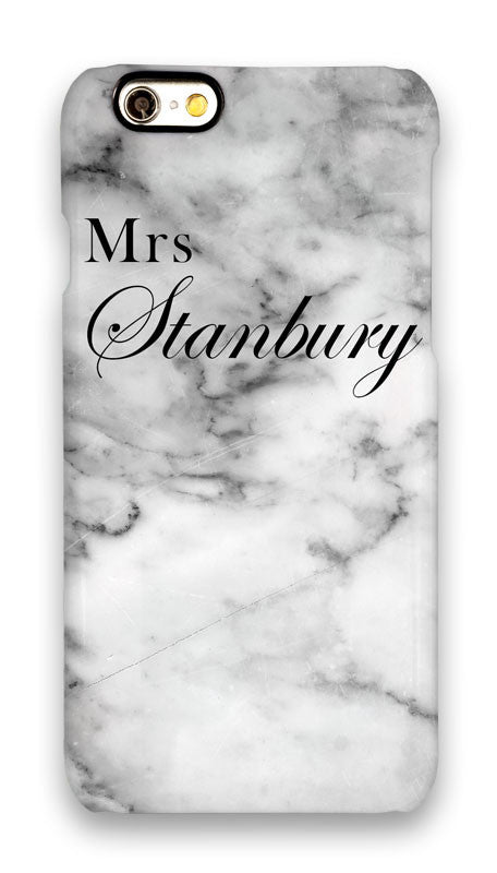 White marble ' Mrs ' with full surname and Copperplate style font