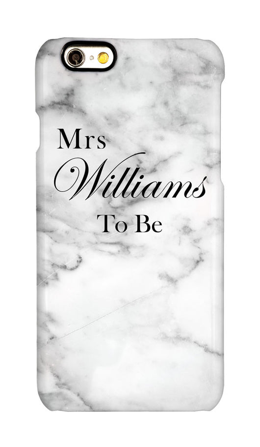 White Marble Effect ' Mrs ' with full surname and 'To Be'