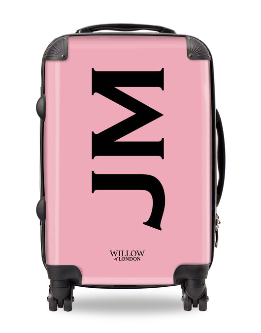 Personalised Suitcase Pink with Side Black Initials
