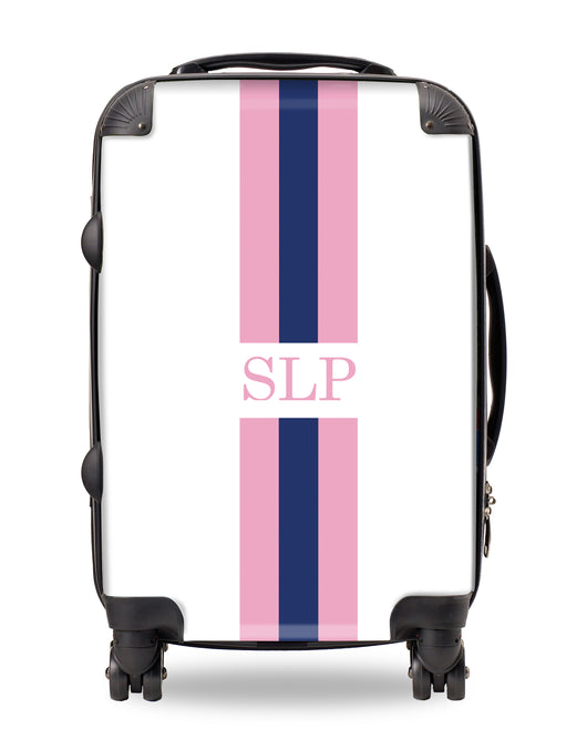 Personalised Suitcase Pink and Blue Striped with Initials