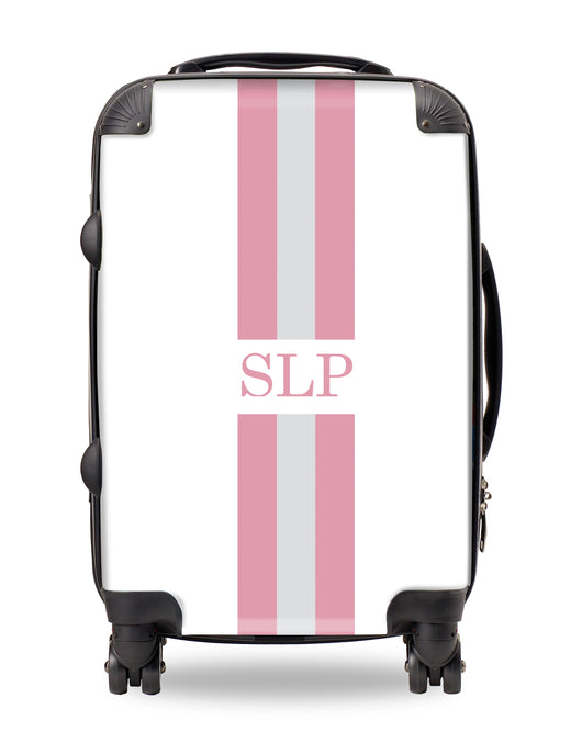 Personalised Suitcase Pink and Grey Striped with Initials