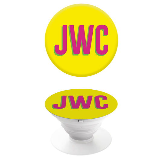 Popgrip Yellow with Hot Pink Initials