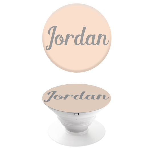 Popgrip Peach with Silver Grey Initials