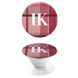 Popgrip Tartan Pink and Grey with White Initials