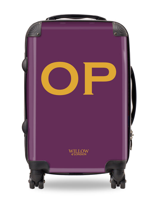Personalised Suitcase Purple with Gold Initials