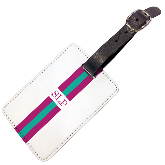 Personalised Luggage Tag Purple and Green Striped with Initials - Double Sided