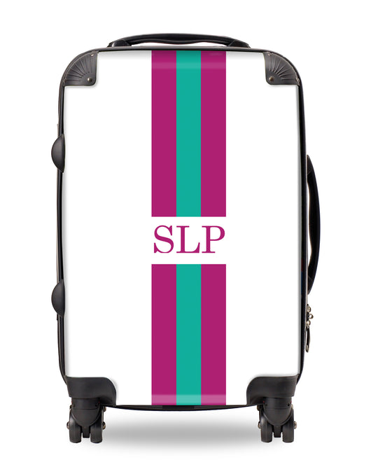 Personalised Suitcase Purple and Green Striped with Initials