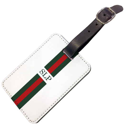 Personalised Luggage Tag Red and Green Striped with Initials - Double Sided
