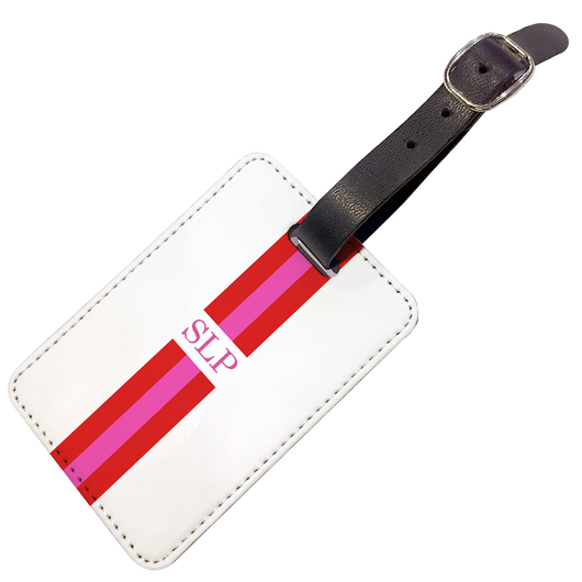 Personalised Luggage Tag Red and Pink Striped with Initials - Double Sided