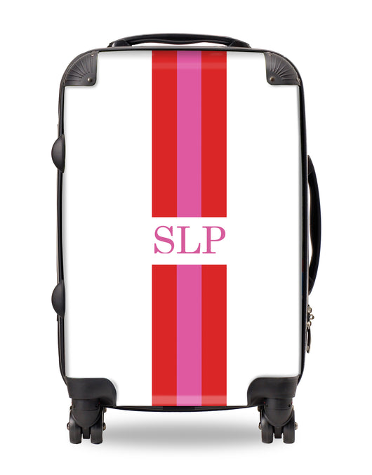 Personalised Suitcase Red and Pink Striped with Initials