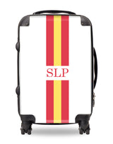 Personalised Suitcase Red and Yellow Striped with Initials