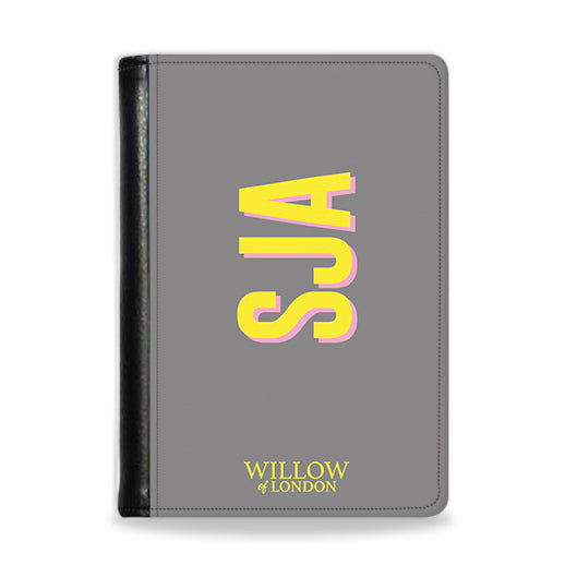 Personalised Passport Wallet Grey With Yellow Side Initials