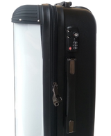 Personalised Suitcase Black with White Stripes and Matching Initials