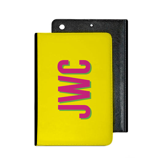 Yellow With Hot Pink Initials and Green Shadow Tablet Cover