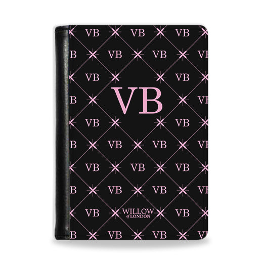 Personalised Passport Wallet Black With Multi Pink Initial Pattern