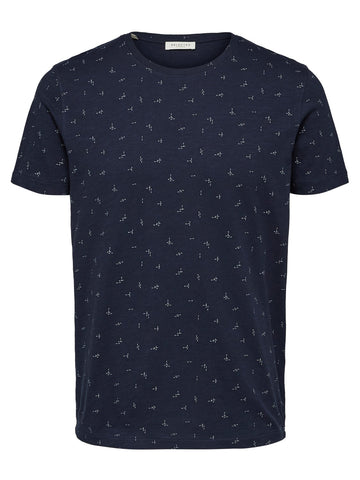 T shirt blauw motief - Selected Homme