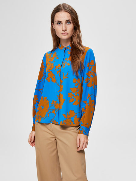 Blauwe print blouse - Selected Femme