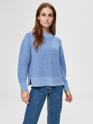 Blauwe pul ronde hals - Selected Femme