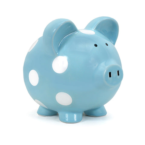 Piggy Bank - Polka Dot Blue