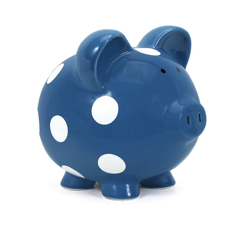 Piggy Bank - Polka Dot Dark Blue