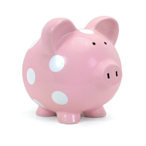 Piggy Bank - Polka Dot Pink