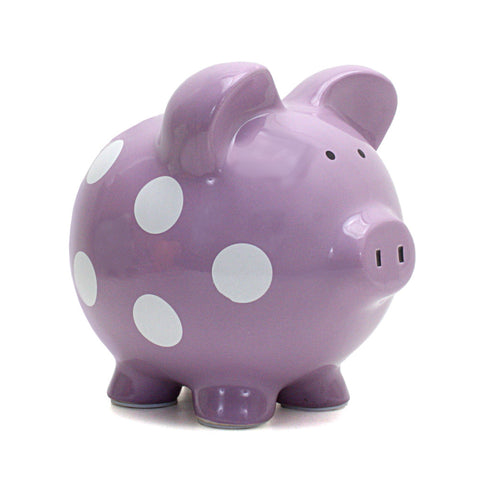 Piggy Bank - Polka Dot Purple