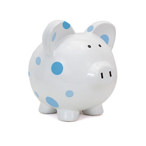 Piggy Bank - Polka Dots Blue Dots