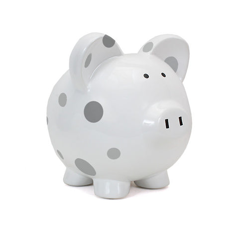 Piggy Bank - Polka Dot Grey Dots