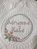 Baby quilt embroidered monogrammed
